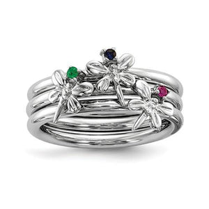Sterling Silver Rhodium-Plate Set Of 3 Sapphire, Ruby, Emerald Rings