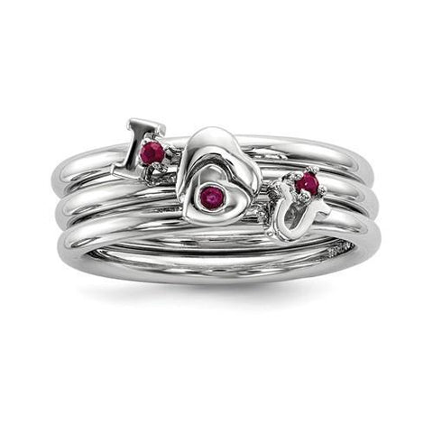 Sterling Silver Set Of 3 Ruby Stacking ILOVEU Rings