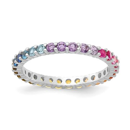 Sterling Silver Colorful CZ Eternity Band Ring