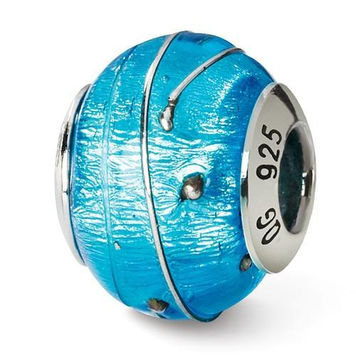 Sterling Silver Reflections Blue/Silver Italian Murano Bead