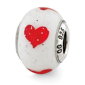 Sterling Silver Reflections Hearts Italian Glass Bead