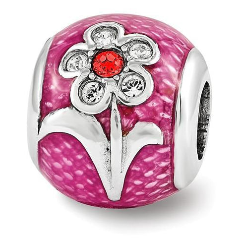 Sterling Silver Reflections Pink Enam With Crystals From Swarovski Flower Bead