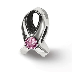Sterling Silver Reflections Silver Ribbon With Pink CZ Bead