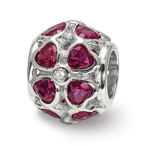 Sterling Silver Reflections Red Heart CZ Bead