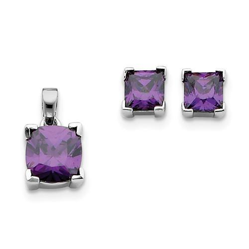 Sterling Silver Purple CZ Pendant And Earring Set