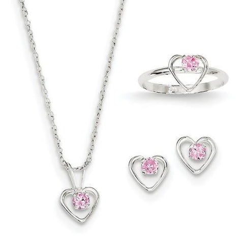 "Sterling Silver Childs 15"" Necklace, Earrings And Size 3 Ring Set"