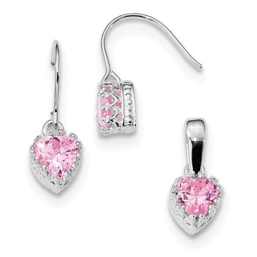 Sterling Silver Pink CZ Heart Earrings And Pendant Set