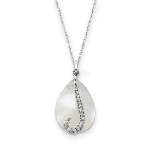 Sterling Silver Mother Of Pearl And CZ Tear From Heaven 18in Necklace
