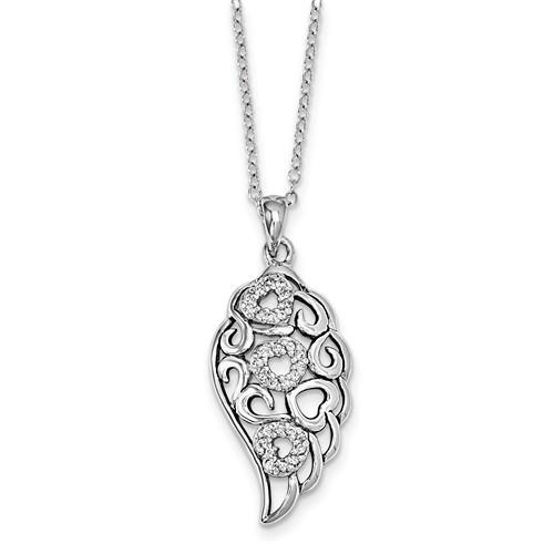 Sterling Silver CZ Wind Beneath My Wings 18in. Necklace
