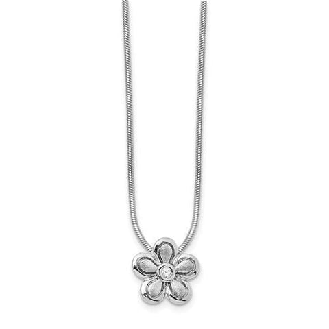Sterling Silver 02ct. Matte Finish Diamond Flower Necklace