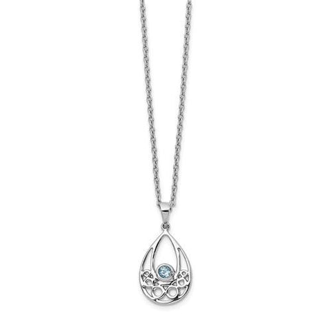 Sterling Silver White Ice With Blue Topaz Necklace