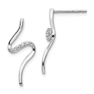 Sterling Silver White Ice Diamond Post Earrings