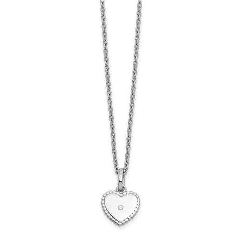 Sterling Silver White Ice Diamond Heart Necklace