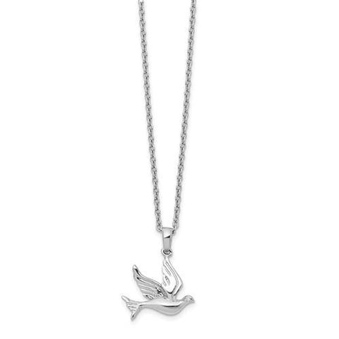 Sterling Silver White Ice Diamond Dove Necklace