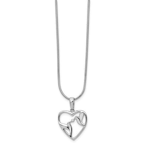 Sterling Silver White Ice Diamond Bird And Heart Necklace