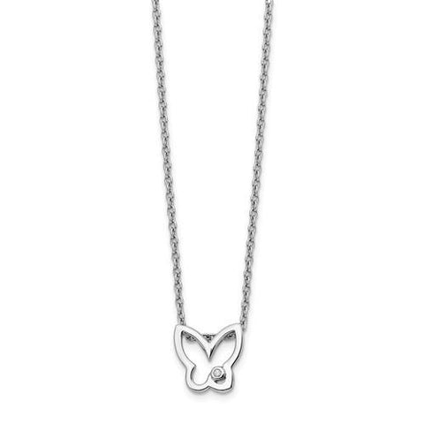 Sterling Silver White Ice Diamond Butterfly Necklace