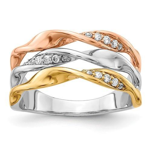 14k Tri-Color Diamond Fancy Ring