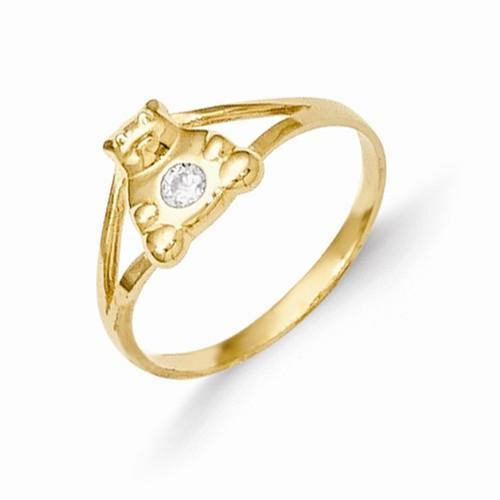 14k Madi K CZ Teddy Bear Baby Ring
