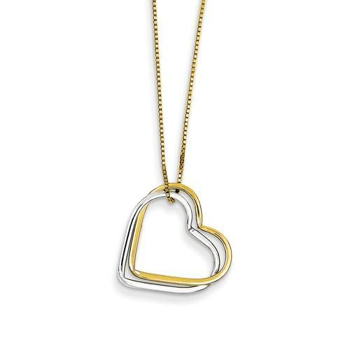 14k Two-Tone Double Heart Pendant Necklace