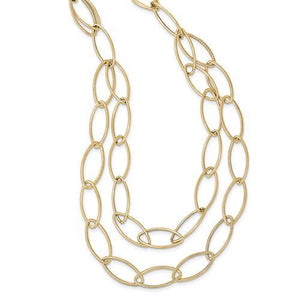 14k Gold Polished Textured Fancy Link Necklace