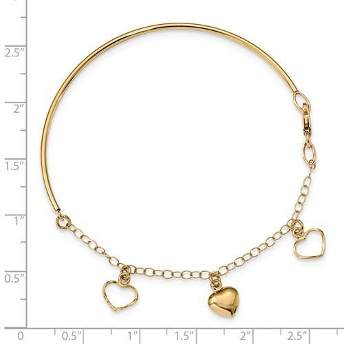 14K Yellow Polished Dangle Heart Chain Bangle