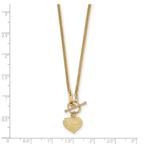 14k Polished 3-Strand D/C Heart Toggle Necklace