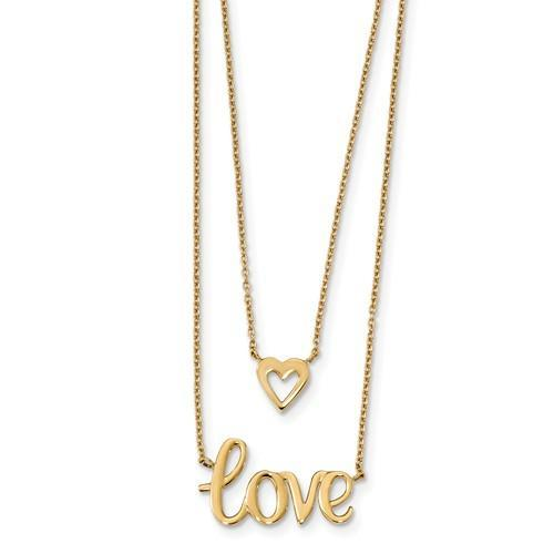 14k Gold 2-Strand Love And Heart Necklace