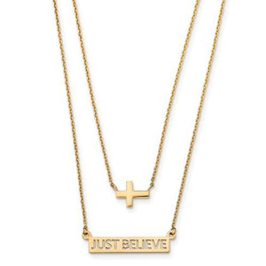 14k Two-Strand Polished Cross And Just Believe Bar Necklace