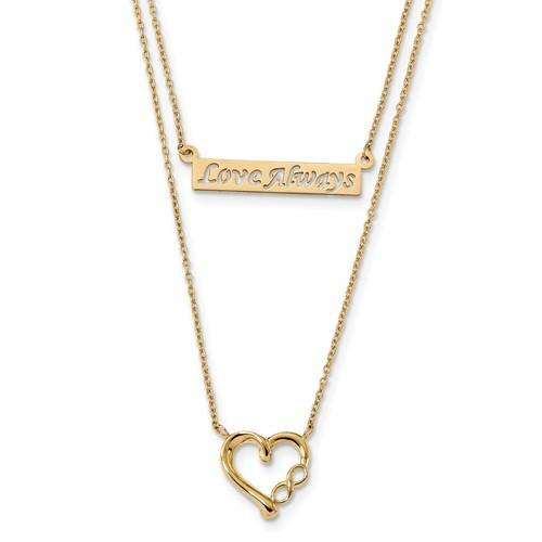 14k Two-Strand Polished Love Always Heart Necklace