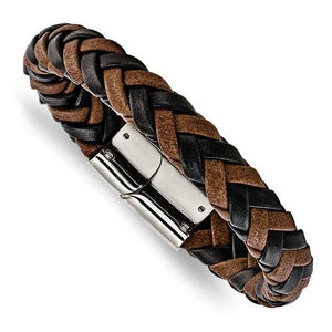Stainless Steel Polished Black And Brown Leather 8.5 in Bracelet