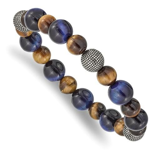 Stainless Steel Antiqued And Polished Brown/Blue Tiger's Eye Stretch Bracelet