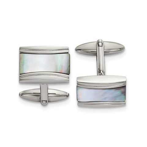 Stainless Steel Polished Rectangle Mother Of Pearl Cuff Links