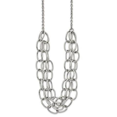 Stainless Steel Polished 20.5in with 1.75in ext. Multi Chain Necklace