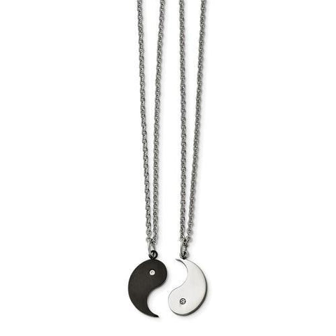 Stainless Steel 1/2 Black Yin With CZ And 1/2 Yang Necklace Set