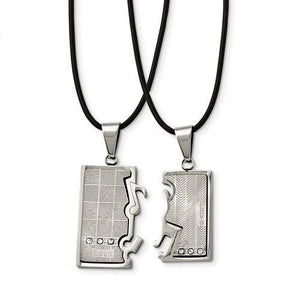Stainless Steel Polished/Brushed CZ Love Music Halves Necklace Set