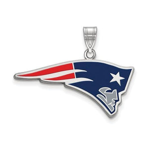 Sterling Silver New England Patriots Large Enamel Pendant