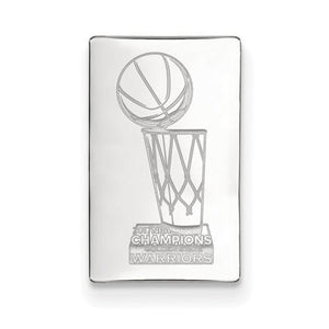 Sterling Silver LogoArt 2017 NBA Championship Warriors Black Leather Wallet