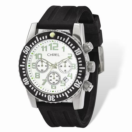 dec62f11e Mens Chisel White Dial Silicone Strap Chronograph Watch – Starving ...