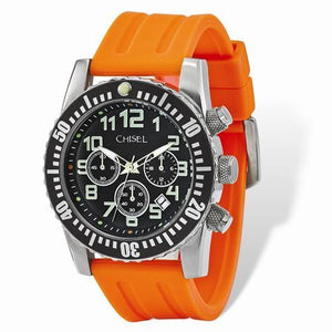 7a5e737eac328 Mens Chisel Black Dial Orange Silicone Chronograph Watch – Starving ...