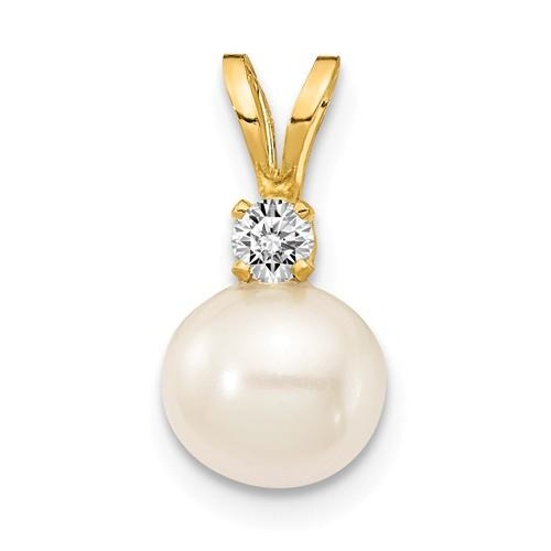 14K White FW Cultured Pearl AA Diamond Pendant
