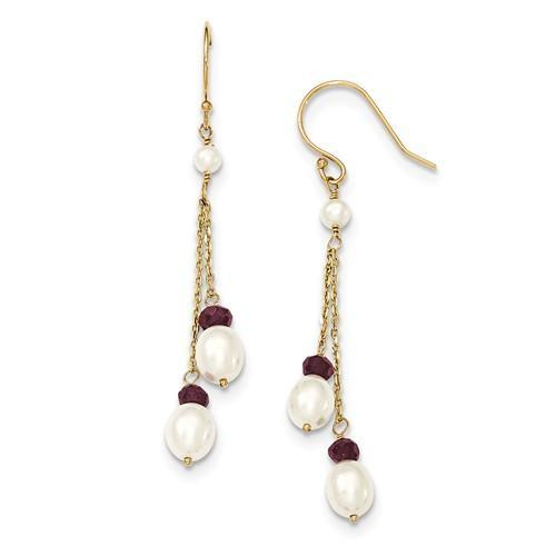 14K Fresh Water Cultured Pearl And Garnet Double Chain Drop Earrings