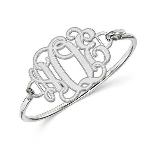 Etched Outline Monogram Plate With Sterling Silver Bracelet