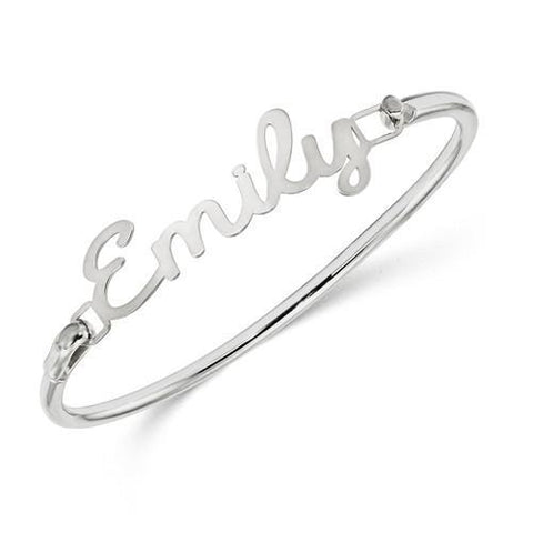 Sterling Silver Laser Polished Name/Word Plate On Bangle
