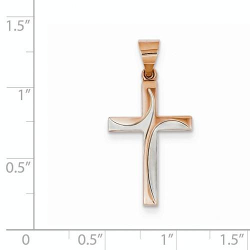 14k Rose Gold Hollow Cross Pendant