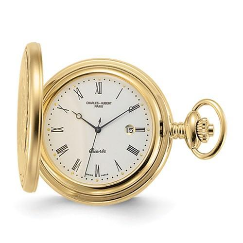 Charles Hubert Gold Finish Off-White Dial With Date Pocket Watch
