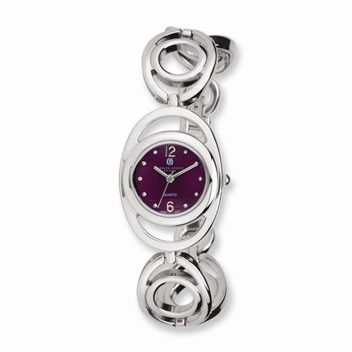 Charles Hubert Chrome Finish Purple Sunray Dial Quartz Watch