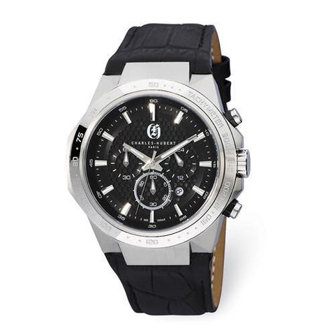 Mens Charles Hubert Stainless Steel Chrono Black Dial Solar-Powered Watch