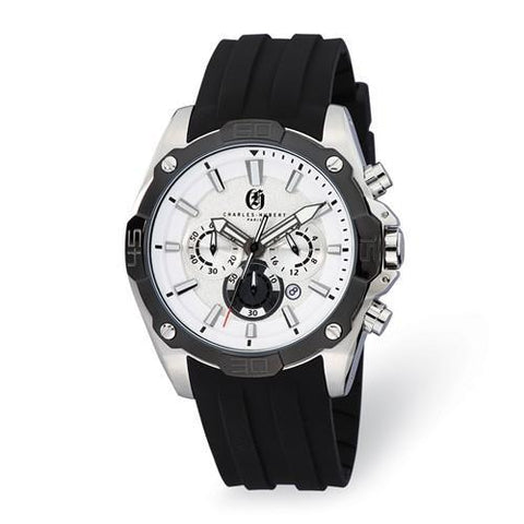 Mens Charles Hubert Stainless Steel Chronograph Silver Dial Watch