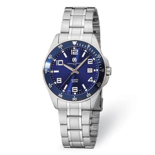 Mens Charles Hubert Stainless Steel Blue Dial Watch