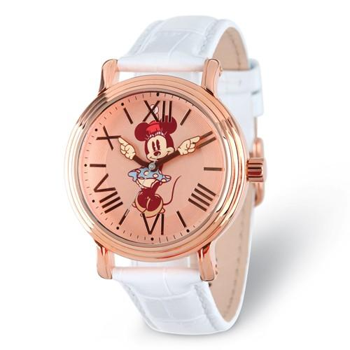 Disney Adult Size Minnie Mouse With Moving Arms Rose-Tone Watch